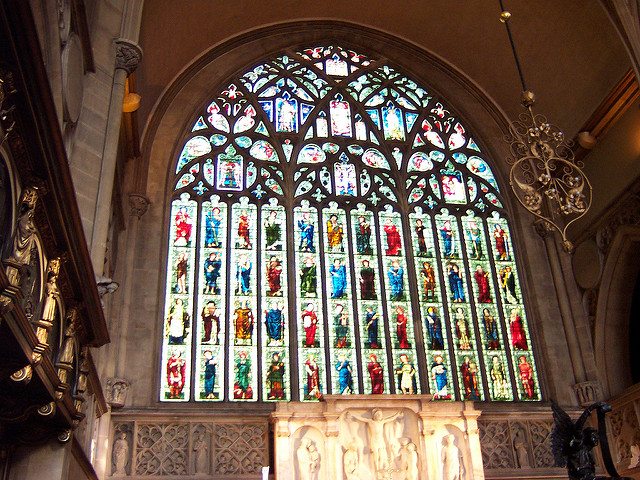The stained glass over the main wall in the Holy Trinity church | © Loz Pycock/Flickr