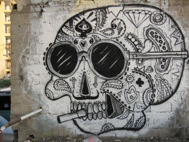 Florentin graffiti skull | Courtesy of Elijah Shifrin