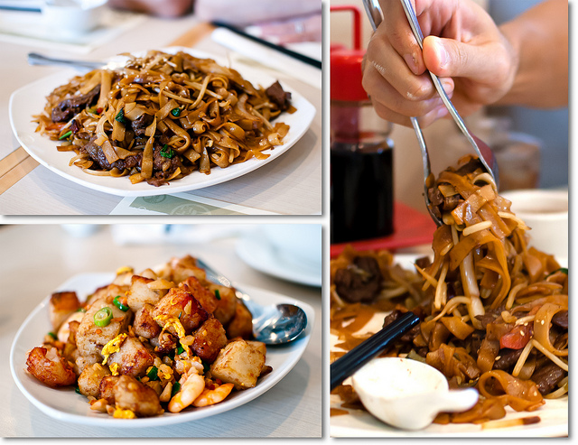 Fried flat rice noodles with beef strips (top left and right). Fried rice raddish cakes | © SteFou!/Flickr