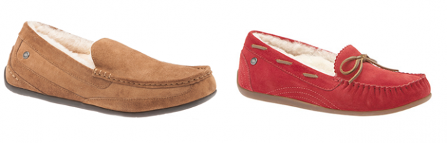 ABEO Halifax moccasin in tan for men Arden for women in red. Photo Credit: ABEO Footwear
