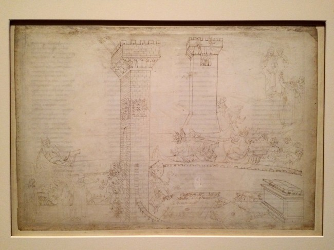 Botticelli, Inferno VIII - Text from the reverse of the page is visible under the drawings | Courtesy of A.Winners