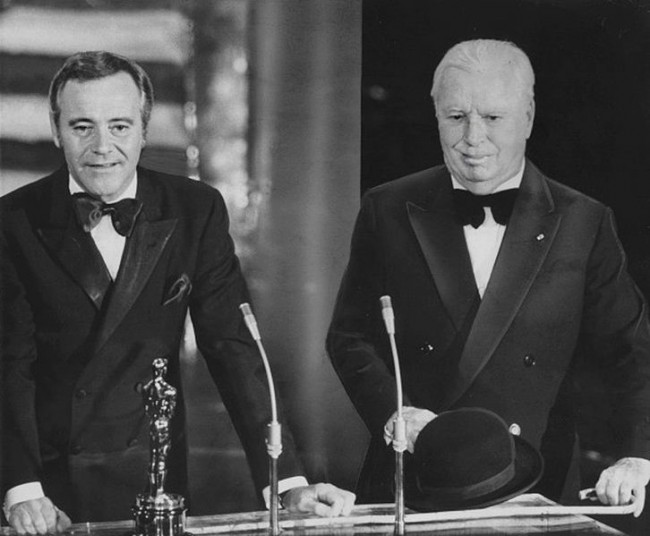 Charlie Chaplin receiving an Honorary Academy Award from Jack Lemmon © Associated Press Photographer | WikiCommons