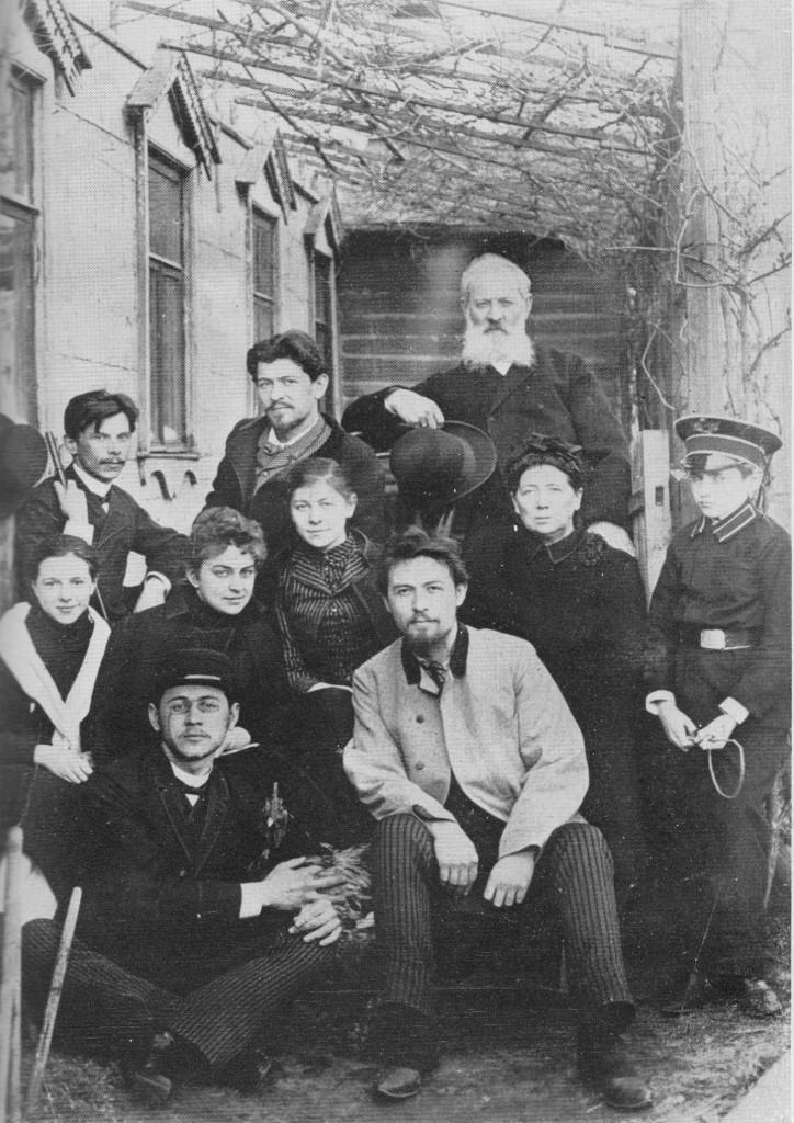 In front of Sadovaya-Kudrinskaya home, 1890. Chekhov with family, 1890   © Public Domain* / Wikicommons