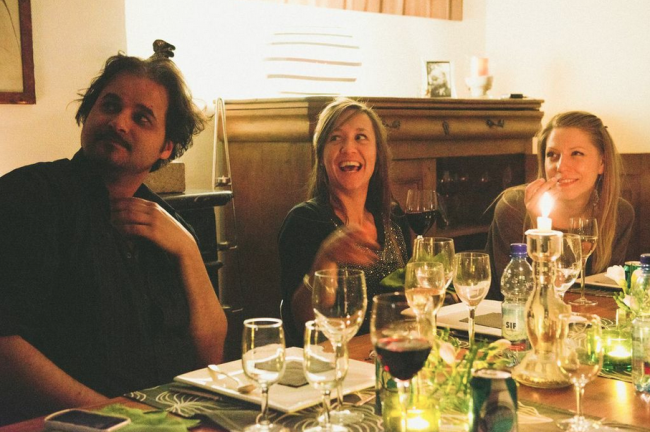 Top notch dinner party with Iria & Els in St. Catherine! |© Photography Courtesy of Damien Milan