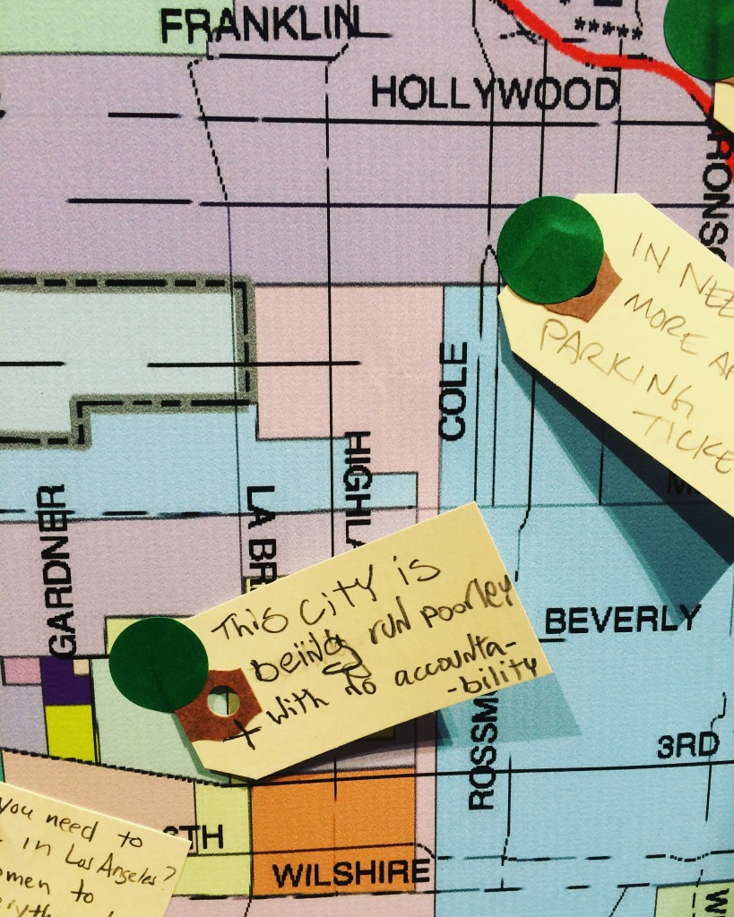 Viewers were encouraged to display notes about their Los Angeles neighborhoods on a map | ©Kate Santos