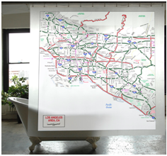 Izola's Los Angeles Map Shower Curtain. Photo Credit: Izola