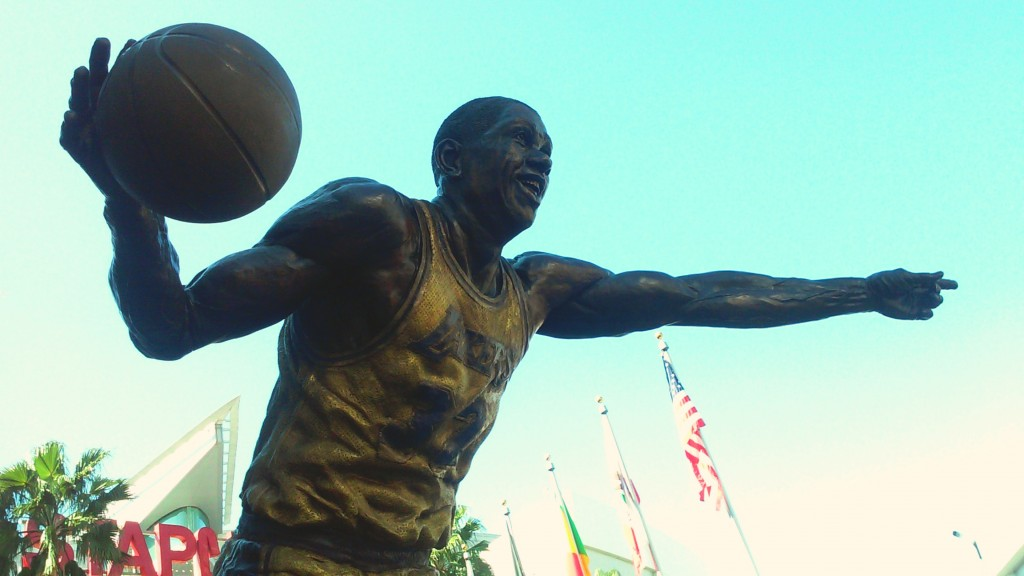 Magic Johnson statue outside Staples center. © Marie Cradle