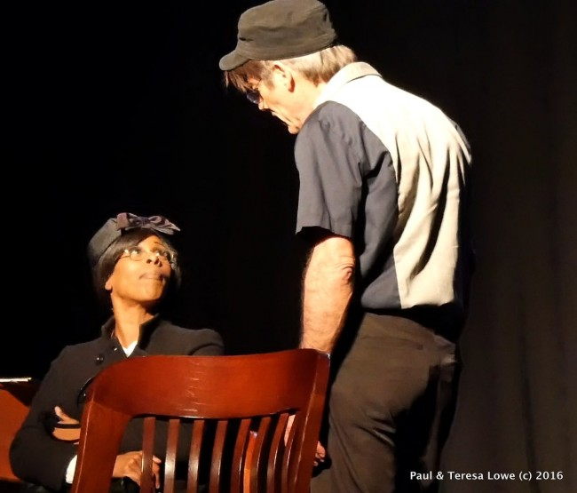 "Malika Blessings portrays a weary Rosa Parks, and Kevin Scott Allen portrays the racially charges bus driver in the hit play ""Martin Duty Calls'"