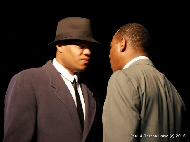 "Actor Trae Ireland gives a stunning performance of Malcom X meeting with Dr. Martin Luther King Jr in the stage play ""Martin Duty Calls"""