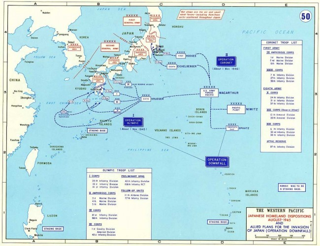 US Military map of Operation Downfall, United States Army @ Wikipedia Commons