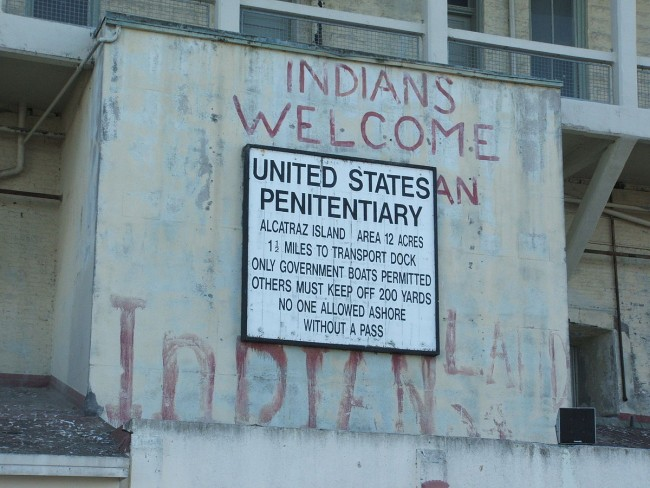 A lingering sign of the 1969–71 Native American Alcatraz Occupation in 2006, Tewy @ Wikipedia Commons
