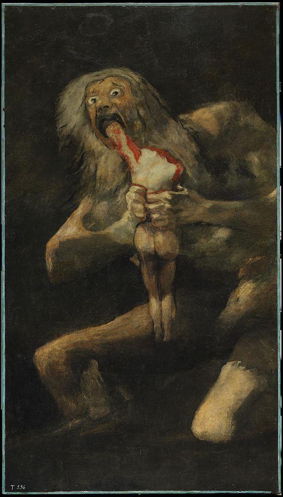 Francisco Goya, Saturn Devouring His Son, 143.5 x 81.4 cm, 1820-1823, Museo del Prado | © Alonso de Mendoza/WikiCommons