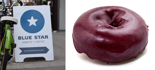Blue Star Donuts' sign and blueberry cake. Courtesty of Blue Star Donuts