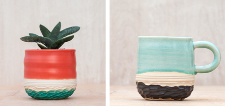 Unurth's Carved Planter in Coral and Carved Espresso Mug in Mint. Photo Credit: Jenn Lamb