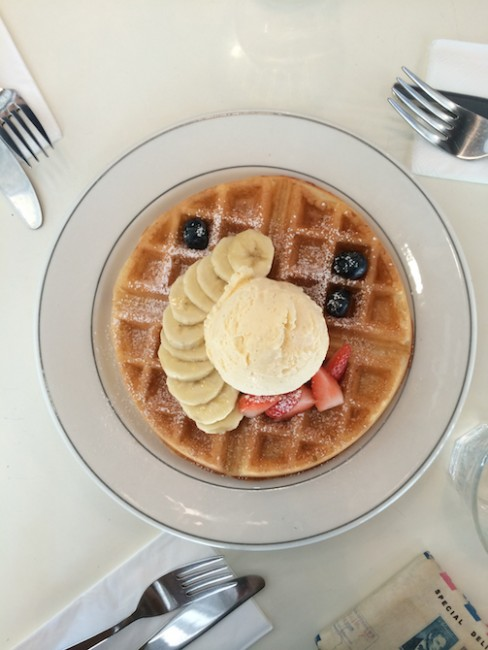 Buttermilk Waffles with Vanilla Ice Cream and Fresh Fruits | Courtesy of Zhu Yong Qing