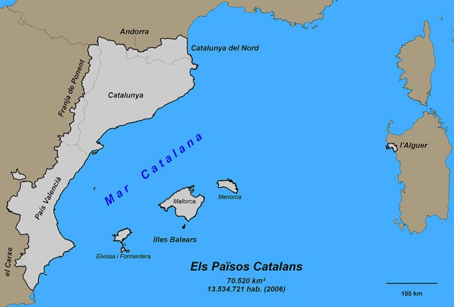 A map of Catalan speaking areas in Europe | © Ramonga93 / WikiCommons