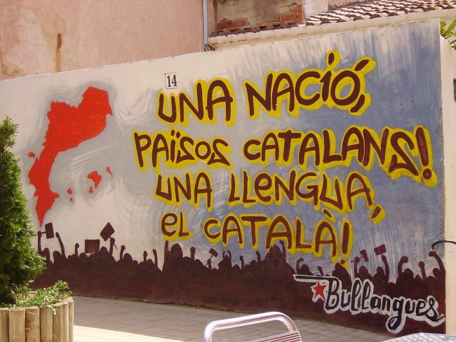"""""""One nation, the Catalan Countries. One language, Catalan"""", mural in Vilassar 