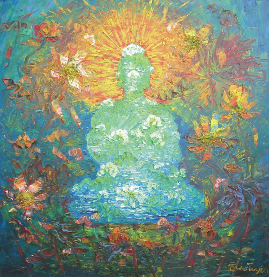 Tuyen vus lotus flower paintings tuyen vu the meditation of lotus 2015 izmirmasajfo
