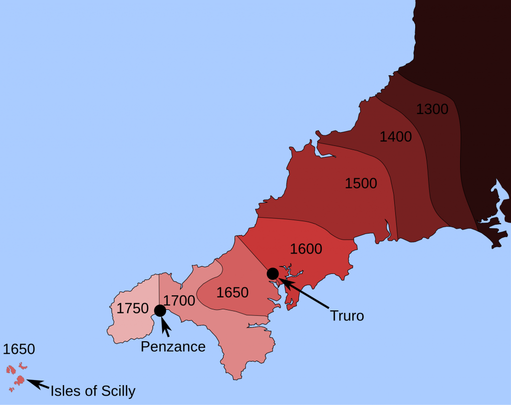 The westward decline of Cornish 1300–1750 © Wiki Commons