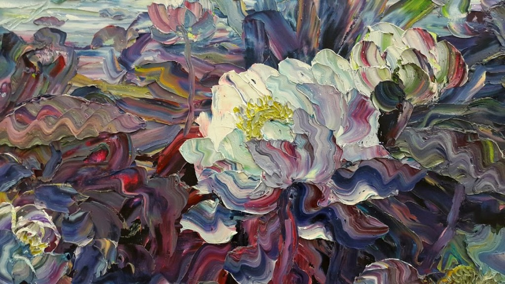 Tuyen Vu, a section of Lotus. Oil on canvas