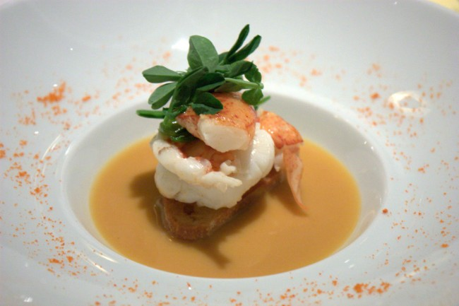 jean georges lobster tartine, lemongrass fenugreek sauce, pea shoots   © Krista/Flickr