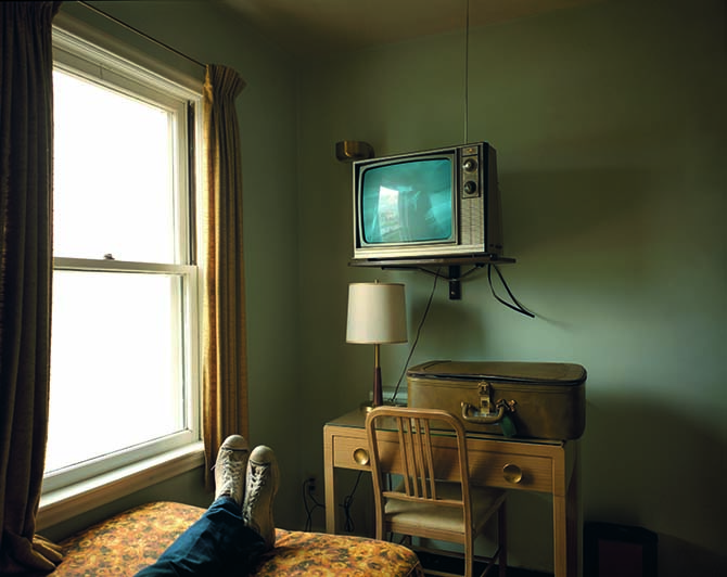 """Room 125, Westbank Motel, Idaho Falls, Idaho, July 18, 1973. From the series """"Uncommon Places"""" 