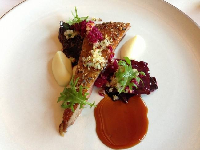 Aged roast duck, lavender, honey, quinoa   © T.Tseng/Flickr