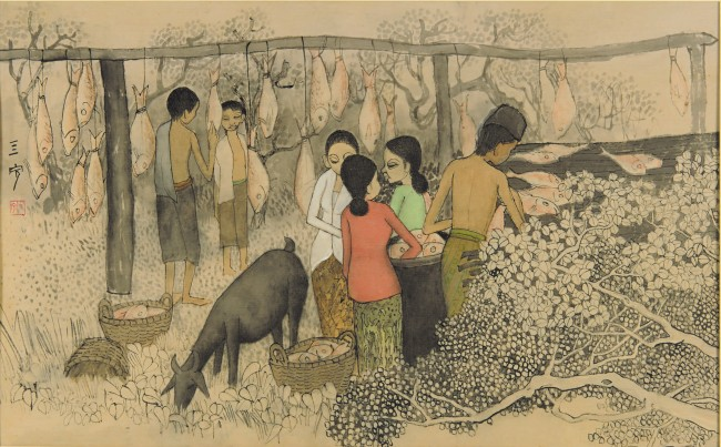 Cheong Soo Pieng - Drying Salted Fish
