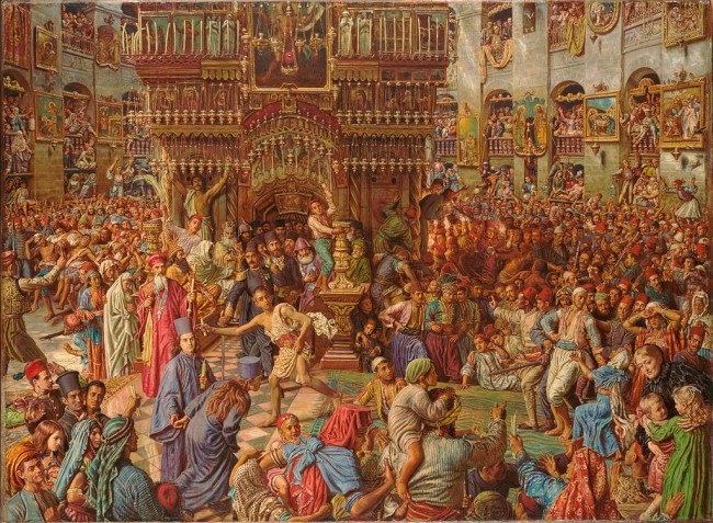 Holman Hunt, The Miracle of the Sacred Fire, 92.1 x 125.7 cm, Fogg Art Museum, 1892-99 | © Johnbod/WikiCommons