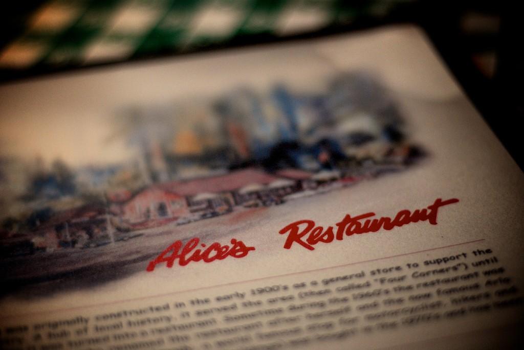 Alice's Restaurant Menu © Rasmus Zwickson/Flickr