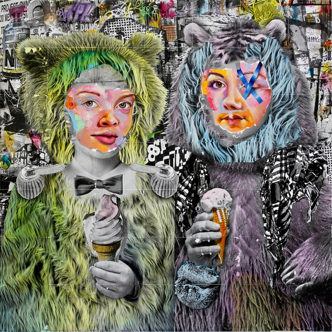 AM DeBrincat, Bear Share, xerox transfer print, acrylic paint, oil paint on canvas | © AM DeBrincat