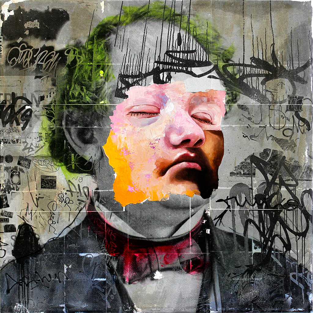 AM DeBrincat, Professor, xerox transfer print, spray paint, acrylic, oil paint on canvas | © AM DeBrincat