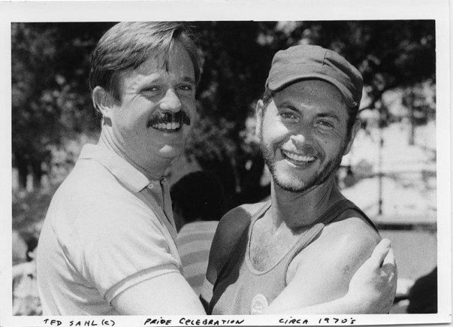 Armistead Maupin and a friend posing a San Jose Pride in the late 70s | © Ted Sahl/Wikimedia