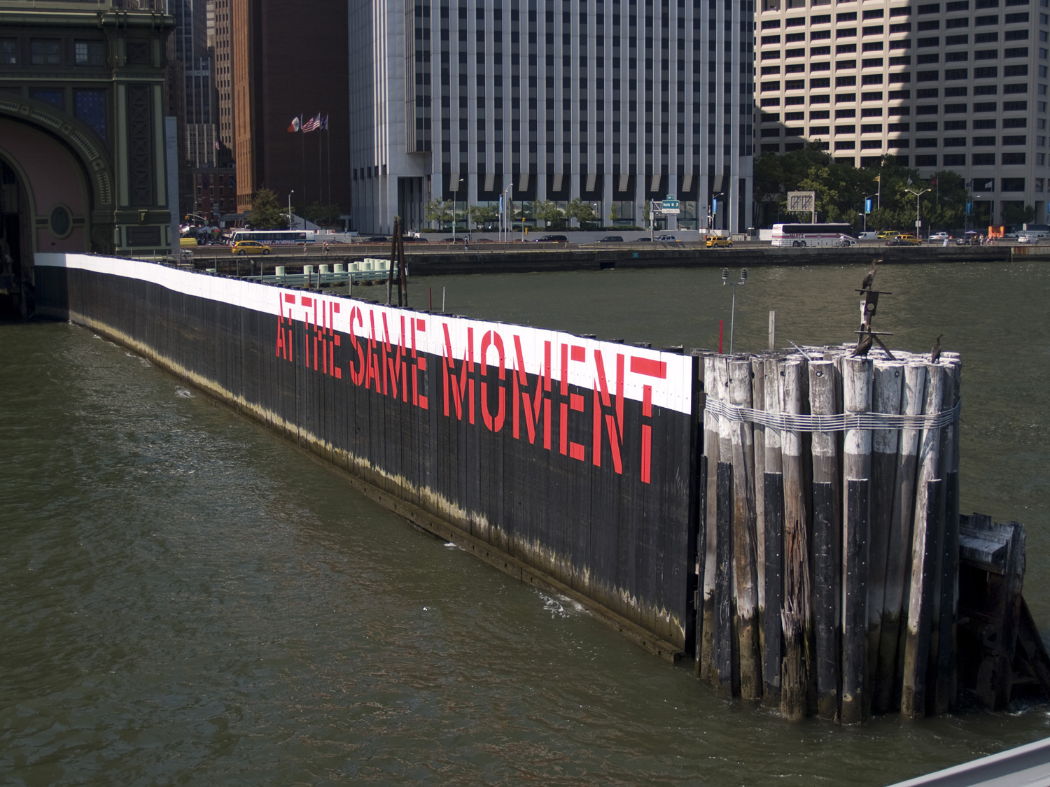 Lawrence Weiner, Outdoor project sponsored by Creative Time: The World & Nearer Ones at Governor's Island, NYC, 2009