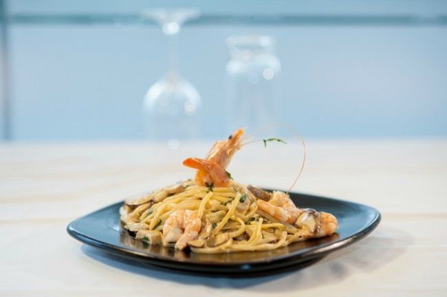 Iodio's spaghetti with shrimp and wild mushrooms | Courtesy Iodio