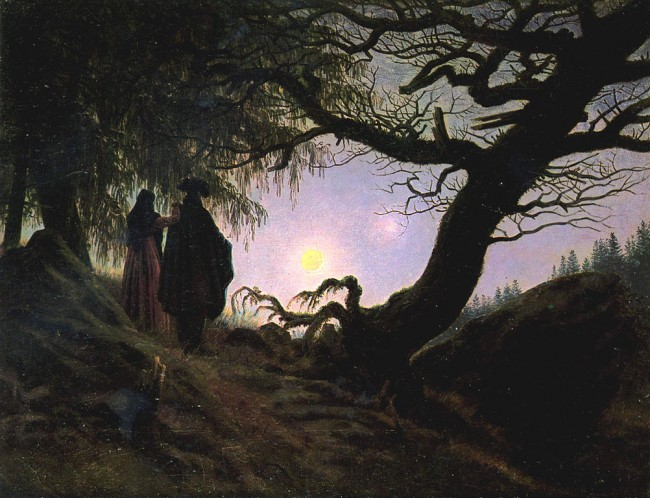 Friedrich, Man and Woman Contemplating the Moon, 34 x 44 cm, Alte Nationalgalerie, c. 1824 | © Kalki/WikiCommons