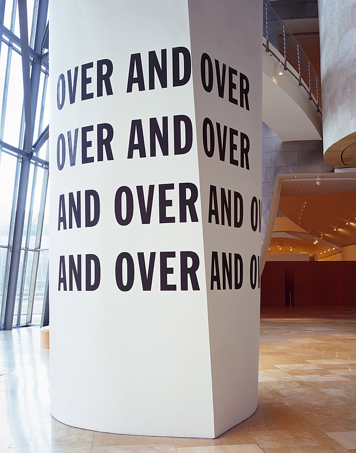 Lawrence Weiner, OVER AND OVER. OVER AND OVER. AND OVER AND OVER. AND OVER AND OVER., 1971 | © 2016 Lawrence Weiner / Artists Rights Society (ARS), New York, Installation view: Changing Perceptions: The Panza Collection at the Guggenheim Museum, Guggenheim Museum Bilbao, Spain, October 10, 2000–April 22, 2001. Photo © Erika Barahona Ede