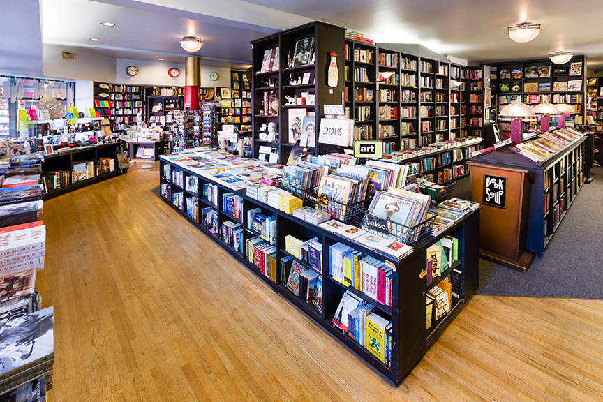 Photo by Russell Gearhart Photography Book Soup in West Hollywood, Los Angeles, Calif. Interior shelves and displays.