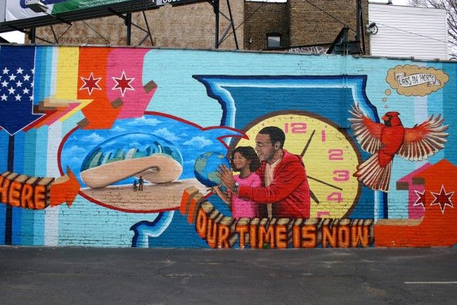 """We Are Here, Our Time is Now"" brightens up a Rogers Park parking lot. 