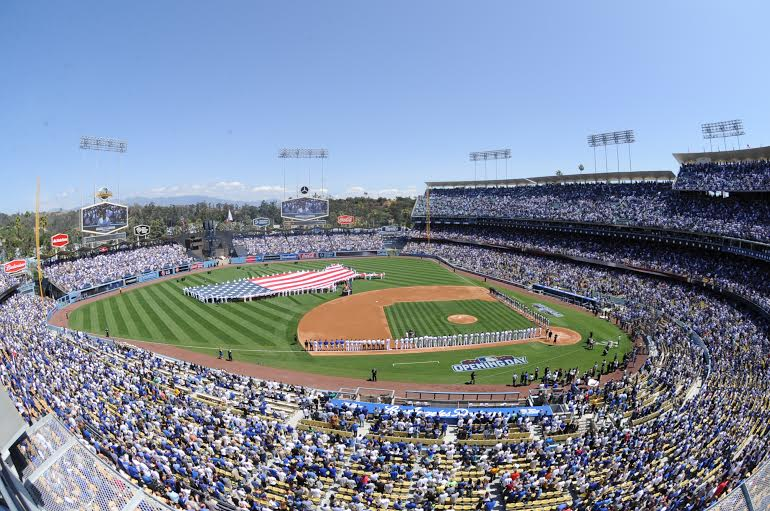 LOS ANGELES, CA - APRIL 6: Los Angeles Dodgers against the San Diego Padres on April 6, 2015 at Dodger Stadium in Los Angeles, Caifornia.