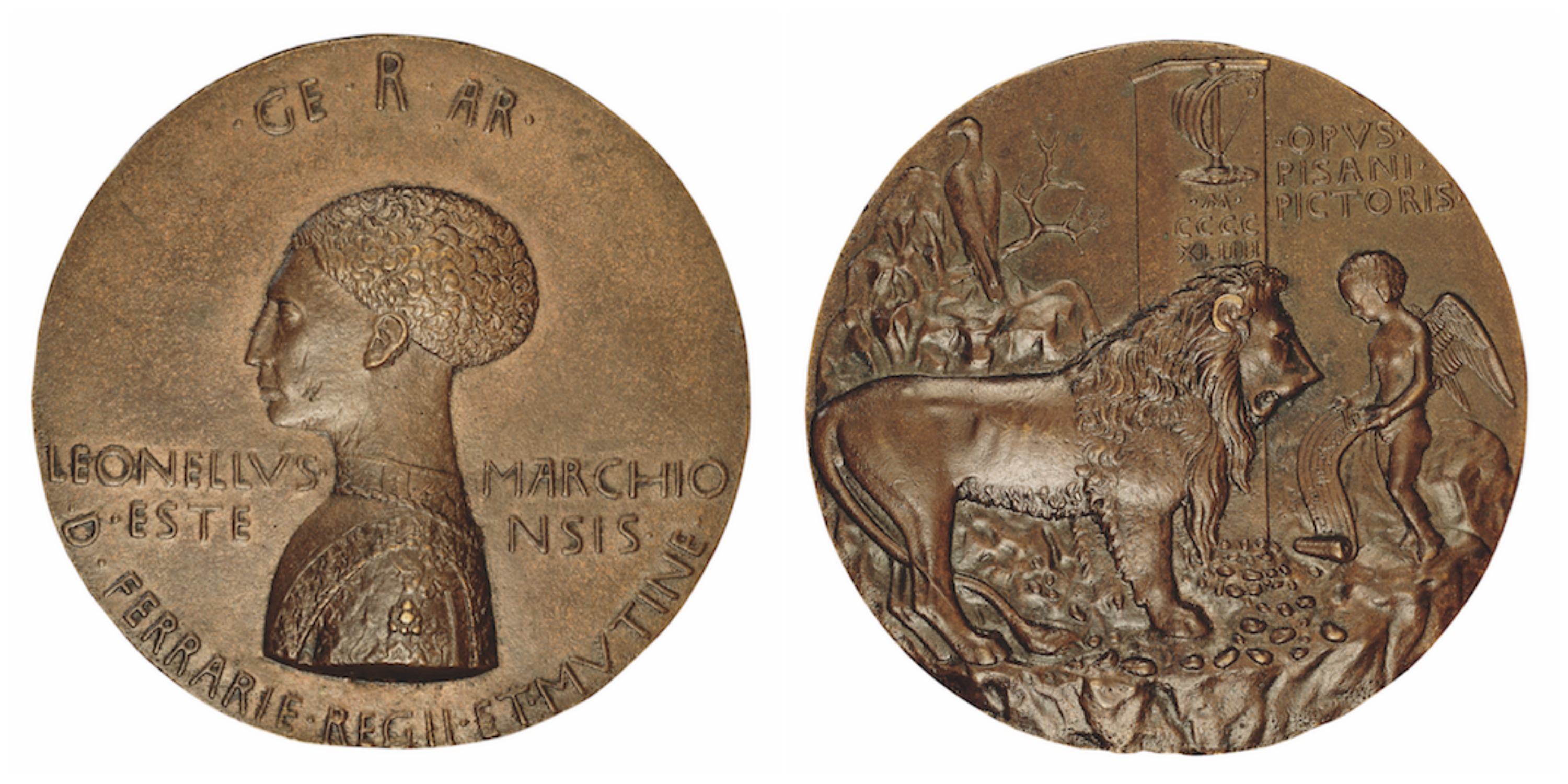 Pisanello. Medal of Leonello d'Este (obverse and reverse) 1441–4. Bronze, diameter 10.08cm (315∕16in). National Gallery of Art, Washington DC, Samuel H. Kress Collection, 1957.14.602.a and 1957.14.602.b. | Courtesy of Laurence King Publishing