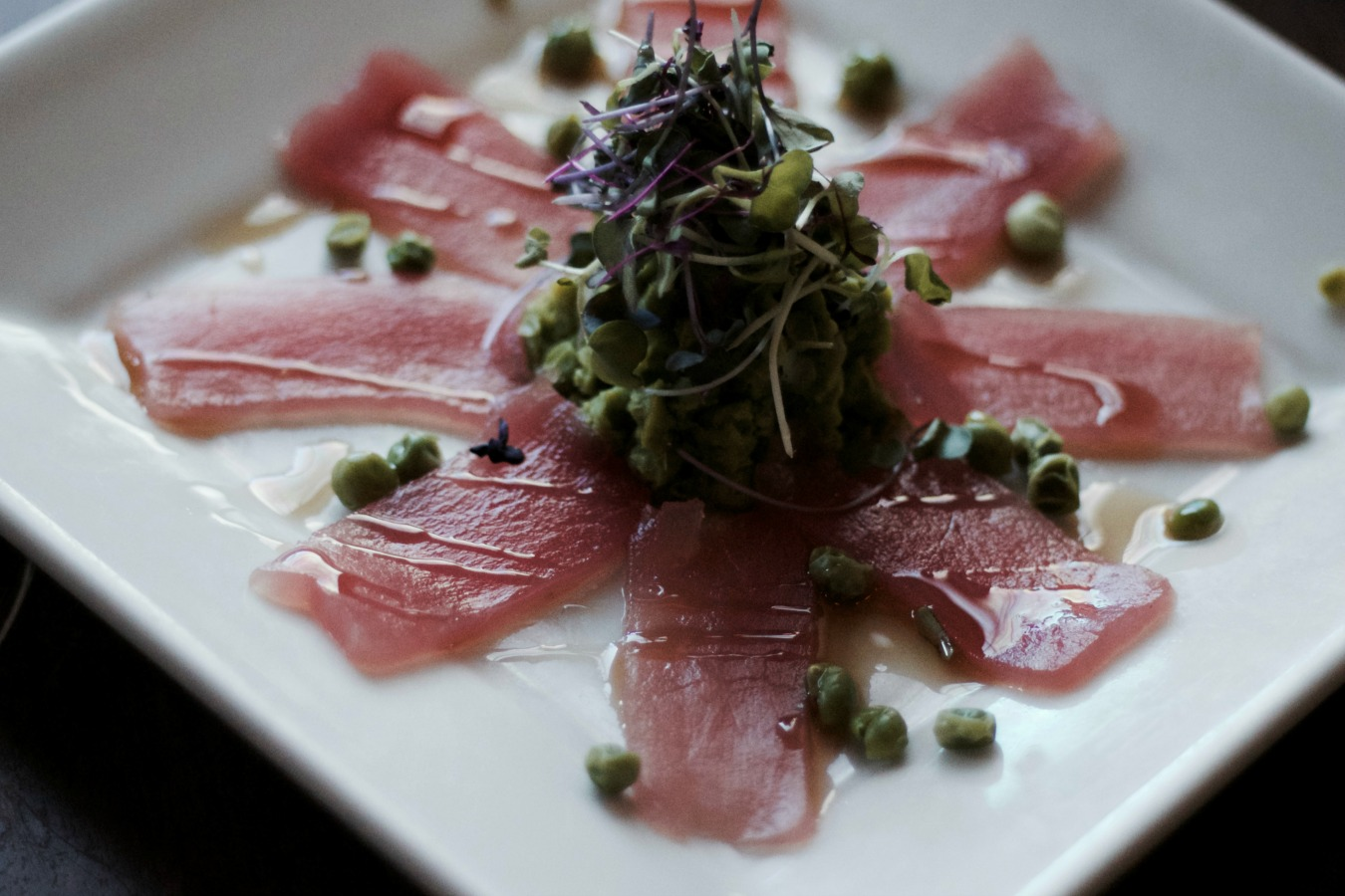 Tuna Carpaccio over Edamame Bean Puree   Image Courtesy of Salt Creek Grille