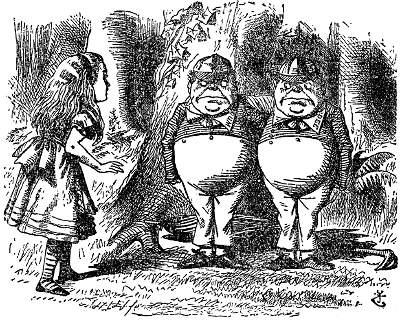 Tenniel illustrations of Tweedledum and Tweedledee, and Alice   © Unf~commonswiki / Wikicommons