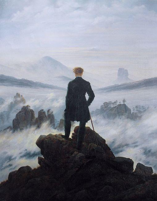 Friedrich, Wanderer above the Sea of Fog, 98.4 x 74.8 cm, Kunsthalle Hamburg, c. 1817 | © Cybershot800i/WikiCommons