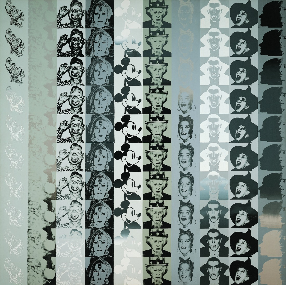 Andy Warhol, Myths, 1981. Synthetic polymer and screenprint on canvas, 100 x 100 inches. The Whitney Museum of American Art. Promised gift of Fisher Landau Center for Art. P.2010.340.