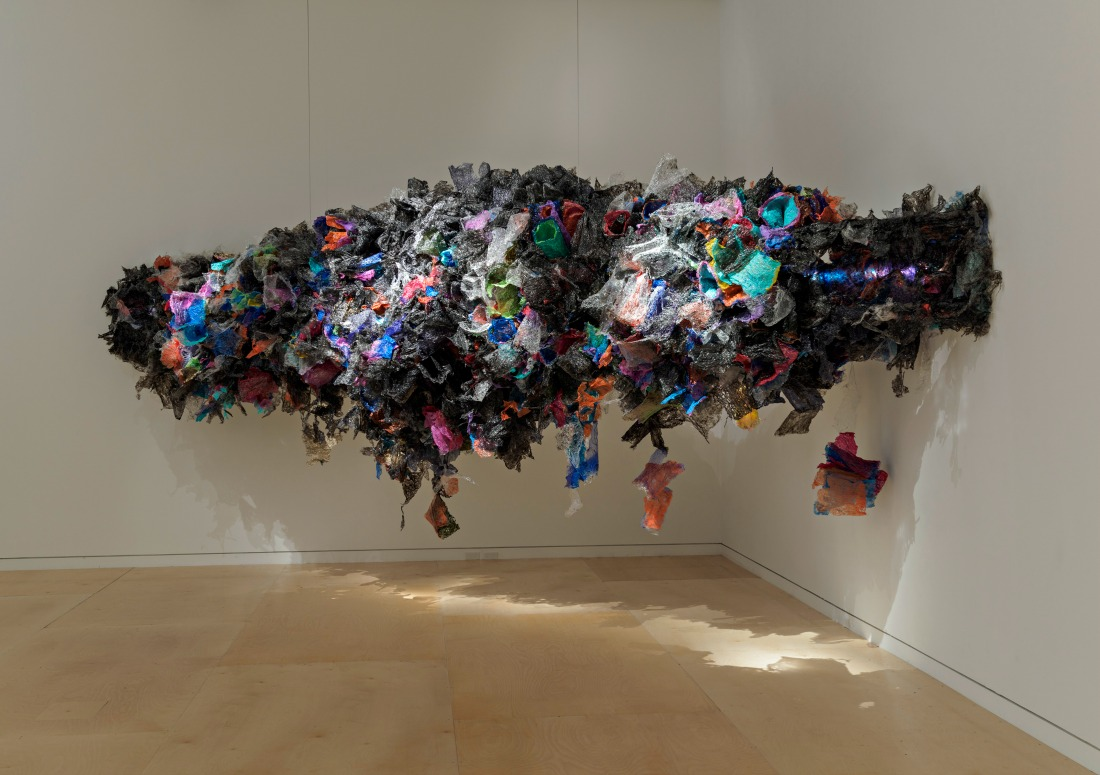 Untitled, Aaditi Joshi (born in 1980). 2016. Fused plastic bags, acrylic paint, LED lighting, wooden armature | Image Courtesy of the artist and Gallery Maskara / © Museum of Fine Arts, Boston