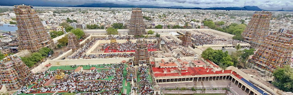 An aerial view of Madurai city from atop the Meenakshi Amman temple ©Wikicommons