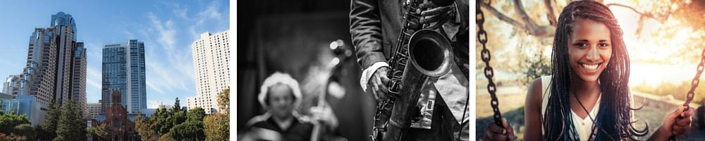 Yerba Buena Gardens | © Franco Folini/Flickr / Jazz © Jimmy Baikovicius/Wikipedia / Woman © Pexels