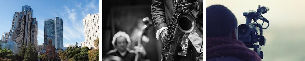 Yerba Buena Gardens   © Franco Folini/Flickr / Jazz © Jimmy Baikovicius/Wikipedia / Video Camera © Pixabay