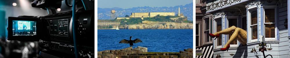 Video Camera © Pixabay / Alcatraz © Dawn Ellner/Flickr / Haight-Ashbury © Rick/Flickr